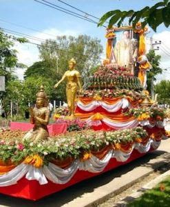 Decorated float at the Lamphun Lamyai Festival Tour