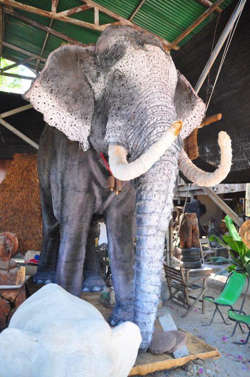 Cement elephant at Ban Jang Nak Chiang Mai Elephant Tour