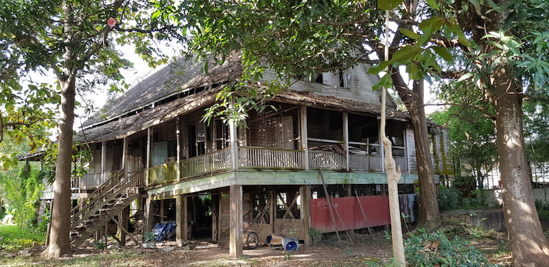 Old missionary house in ruins Phrae