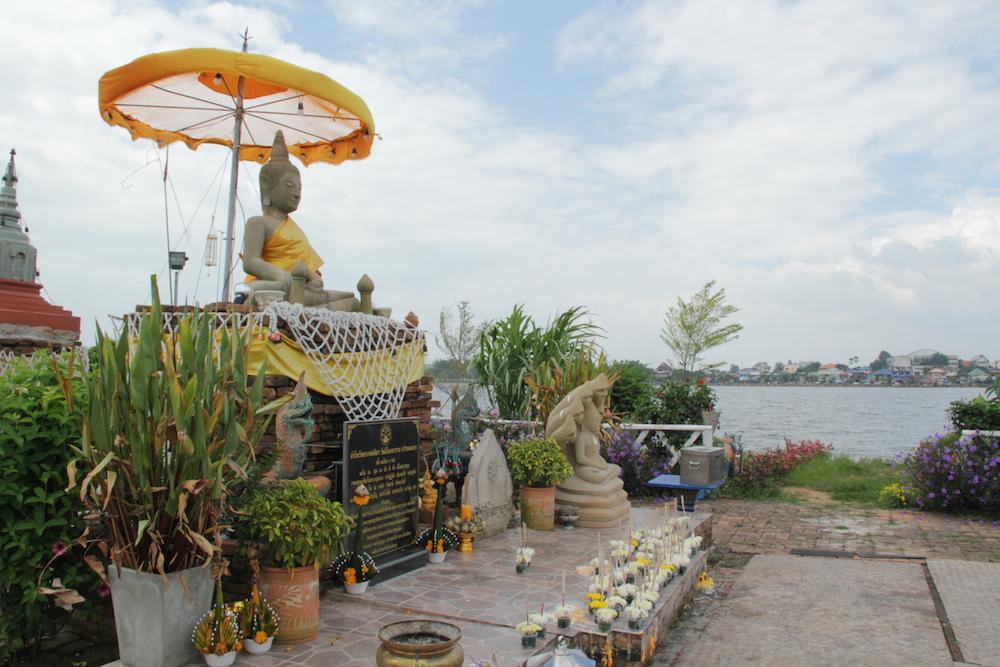 Phayao Lake with buddha statue