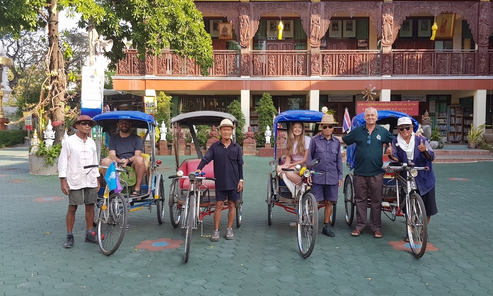 Bicycle taxis at a temple