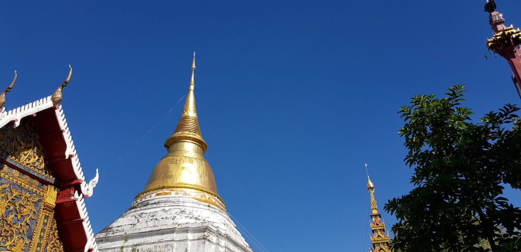 Golden chedi with blue sky