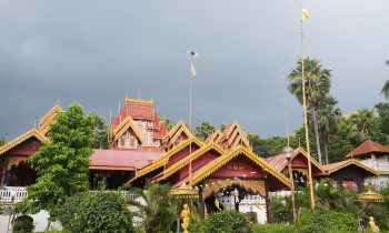 Burmese temple with dark skies