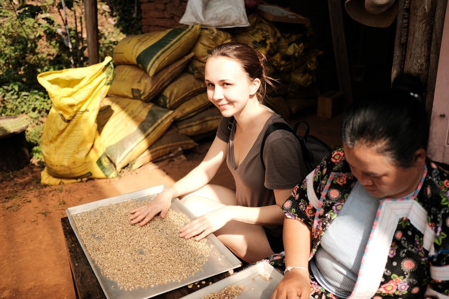 Two women sorting coffee beans