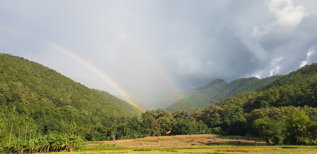 Ricefields and mountains with rainbow