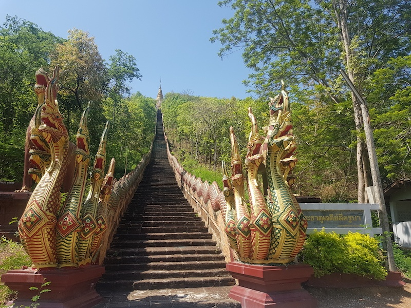 Stairs with dragons to a temple