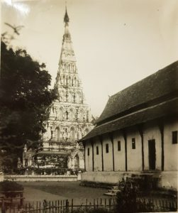 pyramid shape chedi and temple
