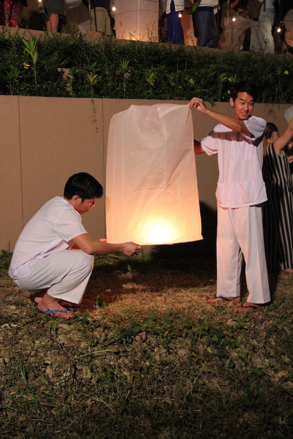 Two men with Sky Lantern