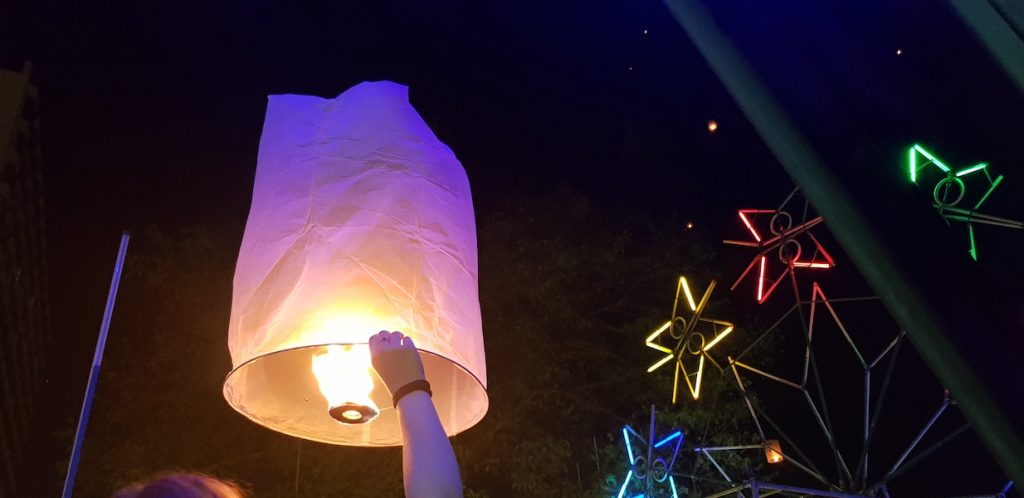 Tourists releasing sky lanterns