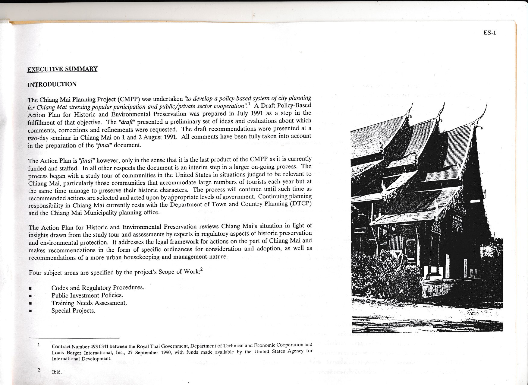 Page 1 of the Chiang Mai Policy-Based Action Plan for historic and environmental preservation