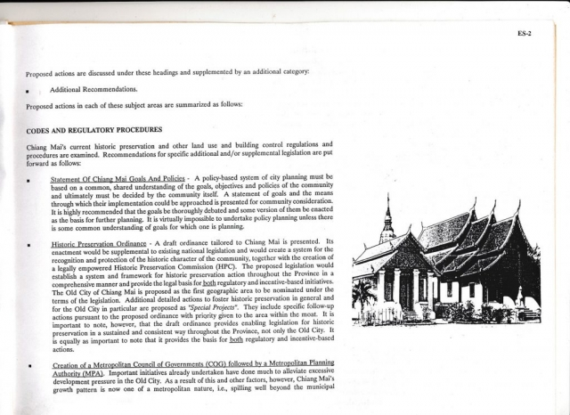 Page 2 of the Chiang Mai Policy-Based Action Plan for historic and environmental preservation
