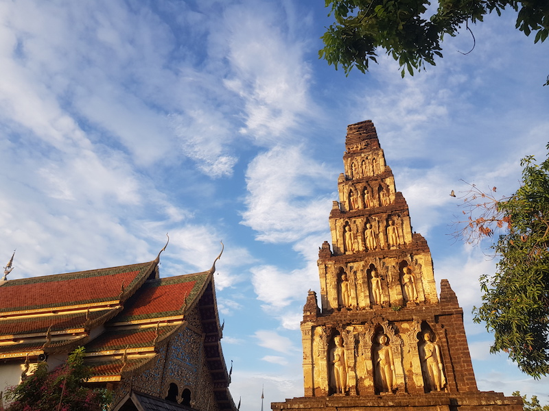 Brick chedi with temple