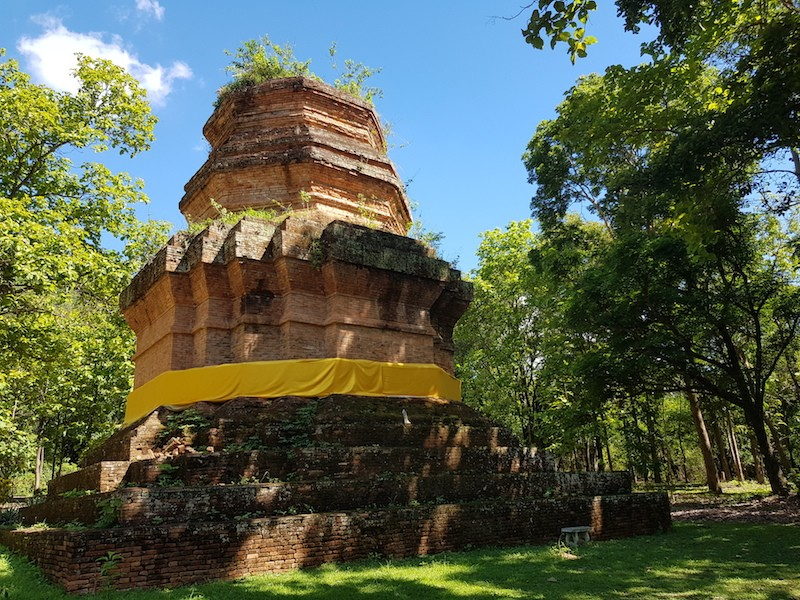 Brick chedi in a forest Wiang Lo
