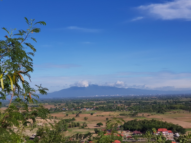 View over the country side and mountain