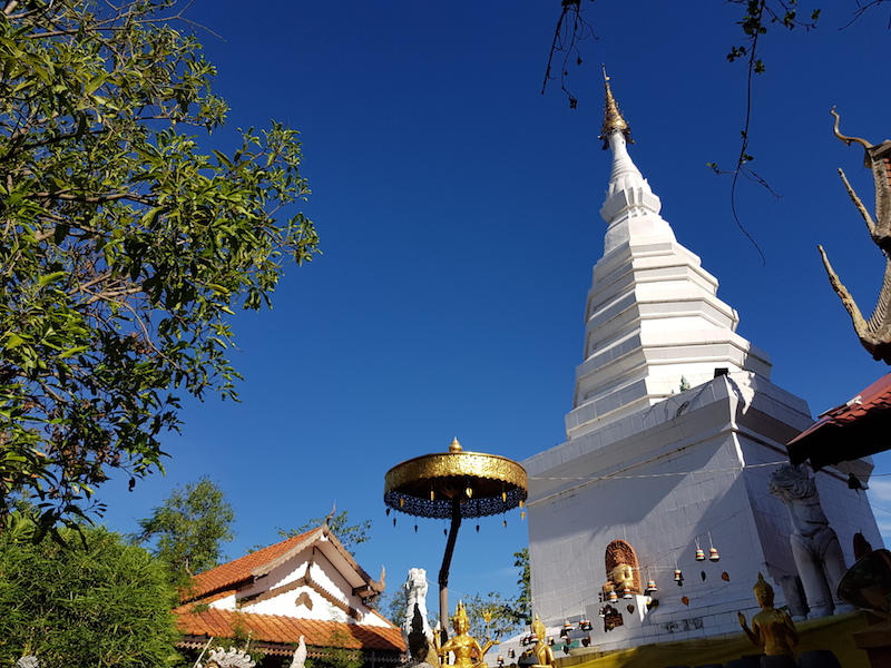White chedi with blue sky