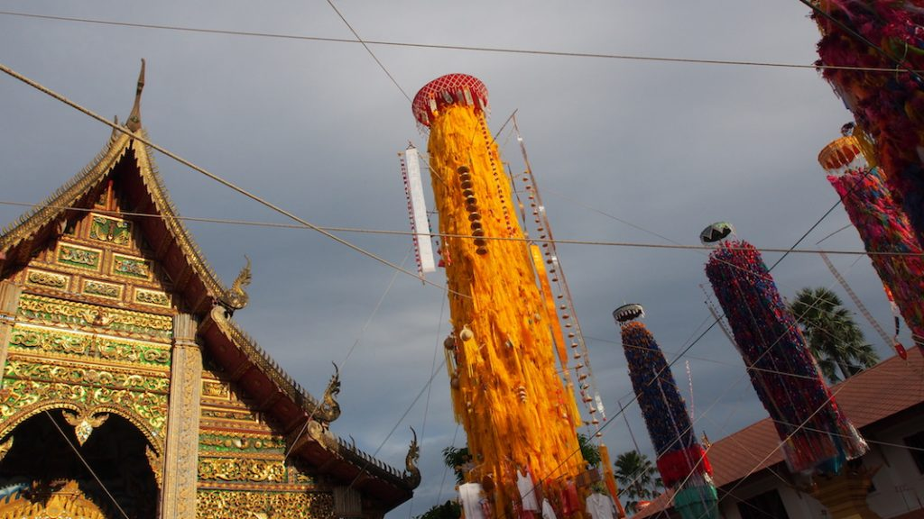 Colourful pillars at a temple