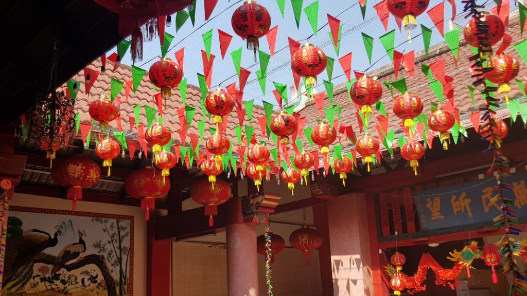 Chinese temple with lanterns people of north thailand