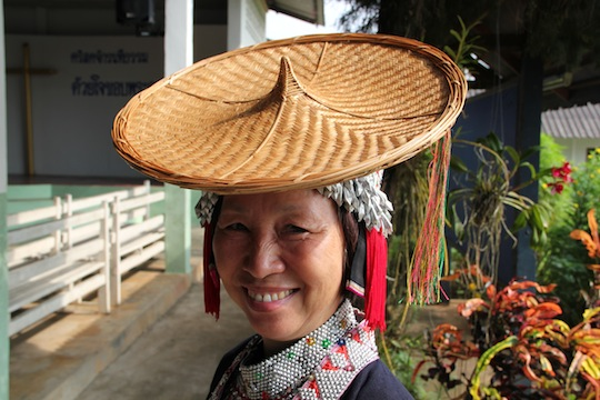 Woman with bamboo hat