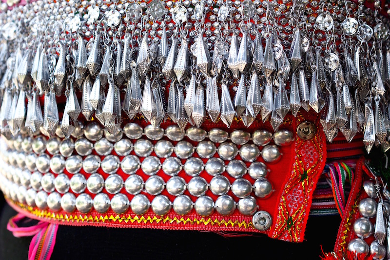 Silver decoration on textile