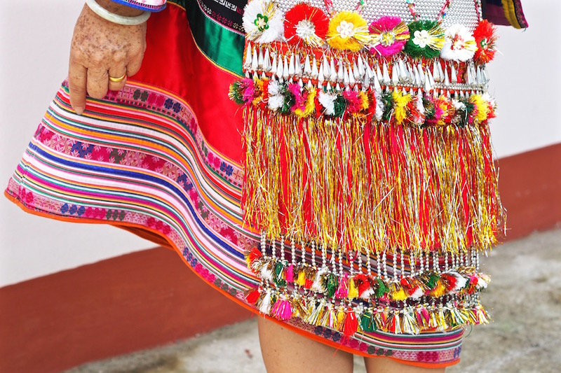 Colourful dress with beads