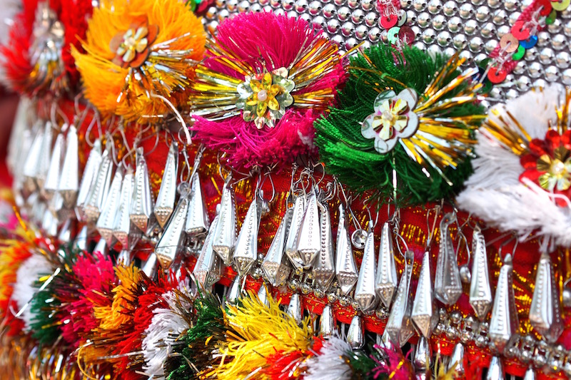 Silver and colourful decoration