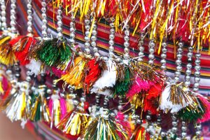 Colourful beads and textile