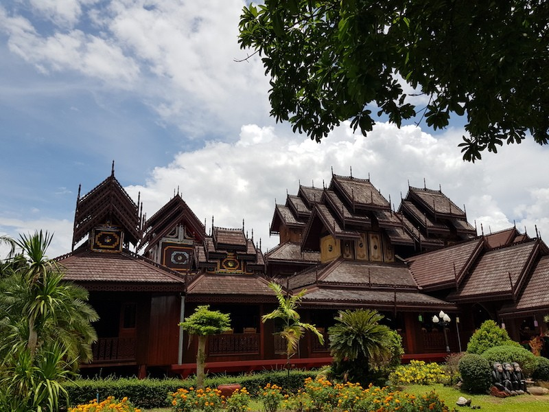 Wooden temple and garden