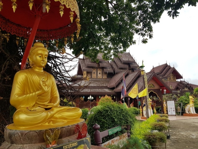 Buddha statue with temple