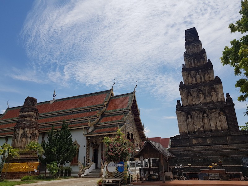 Buddhist temple with two old chedis